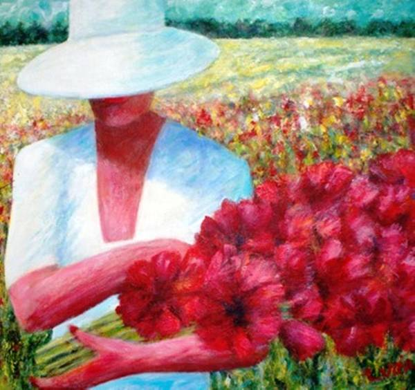 Woman. Field. Counrty. Flowers. Memories. Art Print featuring the print Memories In Red by Carl Lucia