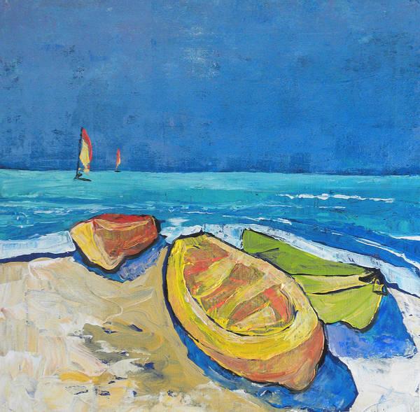 Caribbean Art Print featuring the painting 3 Boats  by Jan Farara