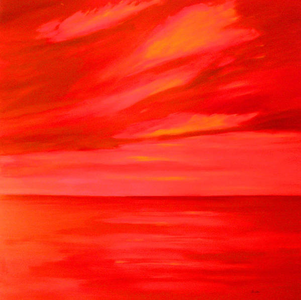 Caribbean Art Print featuring the painting Orange Sky by Sula Chance