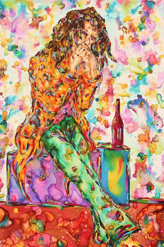 Figure Art Print featuring the painting Oh Bottle Of Wine by Van David