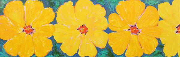 Contemporary Floral Art Print featuring the painting Three And A Half Flowers by Susan Rinehart