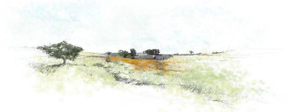 Landscape Art Print featuring the painting Orange Field by Ronald Rosenberg