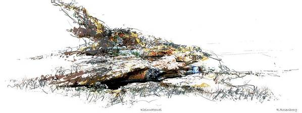 Water Art Print featuring the painting Small Waterfall  Kleinwaterval by Ronald Rosenberg