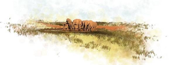 Elephants Art Print featuring the painting Waterhole - Addo National Park by Ronald Rosenberg