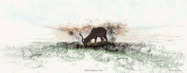 Wildlife In The Landscape Art Print featuring the painting water buck in Addo Park S.A. by Ronald Rosenberg