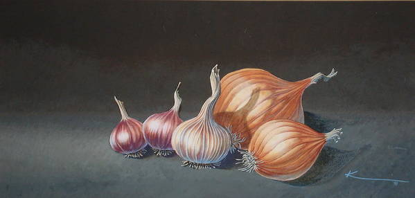 Still Life Art Print featuring the painting Onions And Garlic by Keith Kochenour
