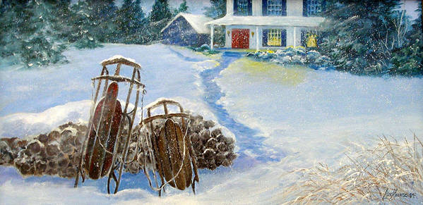 Winter;sleds;snow;after Dark;farmhouse;window Lights;logs;sled Riding; Memories; Art Print featuring the painting When We Were Young by Lois Mountz