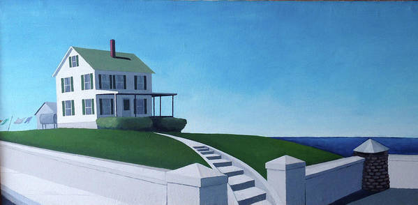 Landscape With Sea Art Print featuring the painting A House By The Sea by Thomas Kever