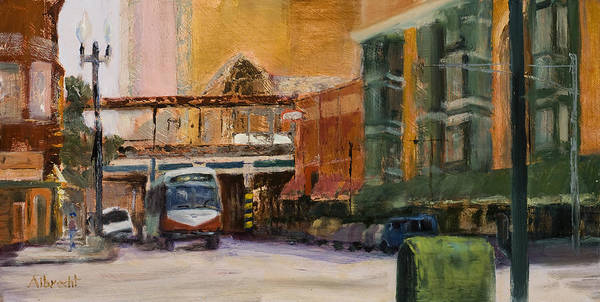 Bus Art Print featuring the painting Bryn Mawr Edgewater El Stop by Nancy Albrecht