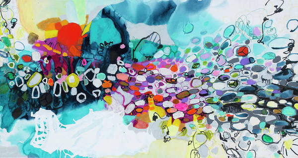 Abstract Art Print featuring the painting Cobblestones Of San Miguel by Claire Desjardins