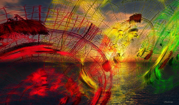 Wire Art Art Print featuring the digital art Primary Sunset by Constance Peckman