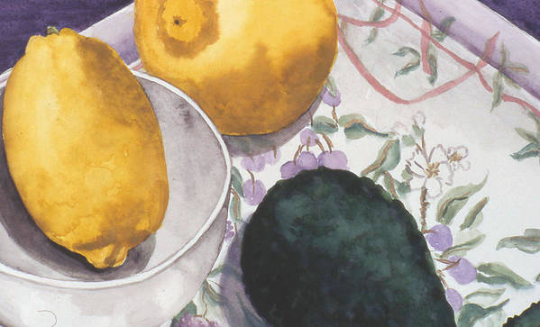 Still-life Art Print featuring the painting Lemons And Avocado Still-life by Caron Sloan Zuger