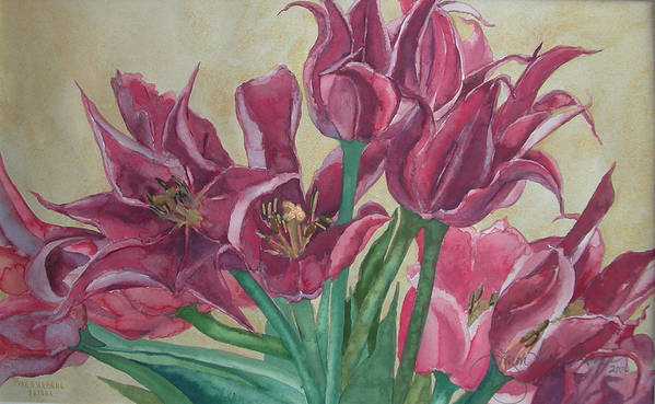 Watercolor Art Print featuring the painting Mini-tulip Bouquet - 8 by Caron Sloan Zuger
