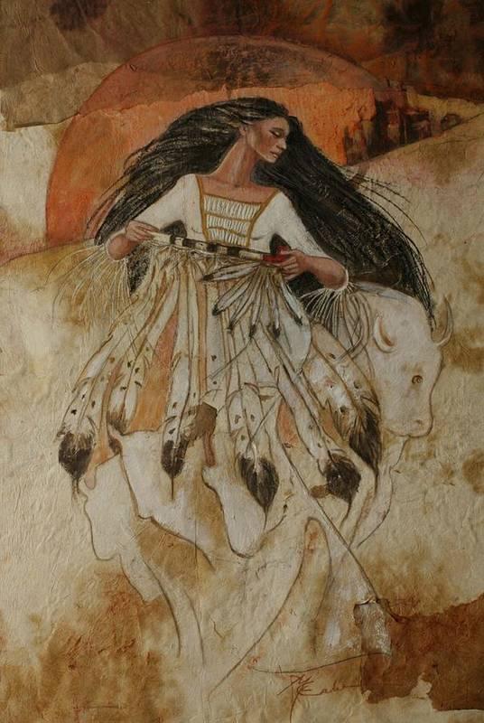 Sunrise As White Buffalo Woman Leaves The Lakota Tribe. She Holds The Sacred Pipe And She Shapeshifts Into The White Buffalo Art Print featuring the pastel Departure Of White Buffalo Woman by Pamela Mccabe