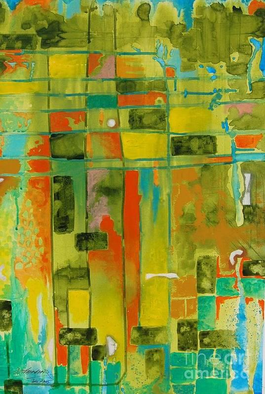 Abstract Art Print featuring the painting Untitled by Padmakar Kappagantula