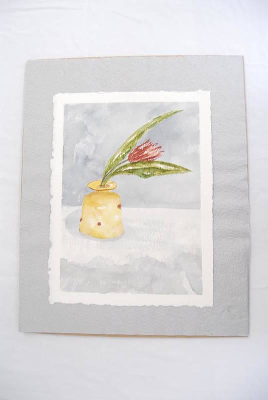 Tulip In Yellow Vase Art Print featuring the painting Springtime by Marti Kuehn
