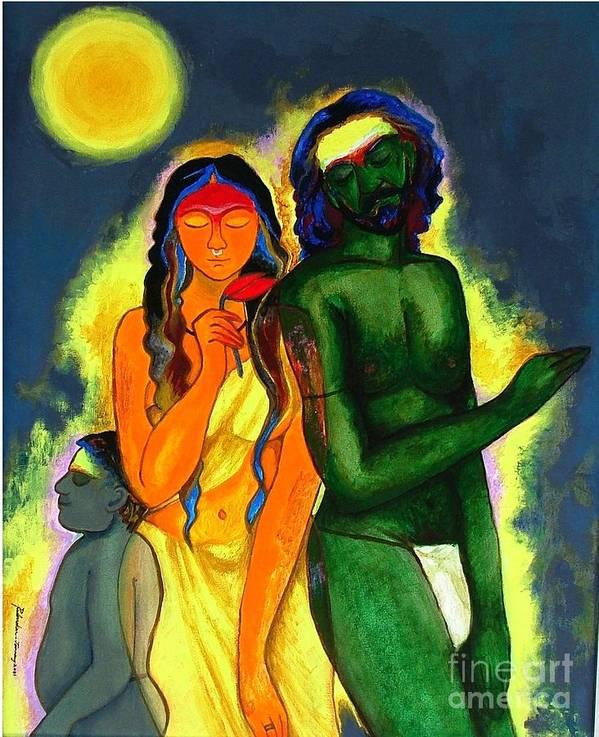 Figurative Art Print featuring the painting Pilgrims by Padmakar Kappagantula