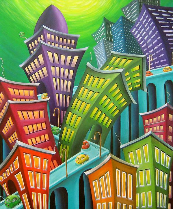 Urban Art Print featuring the painting Urban Vertigo by Eva Folks