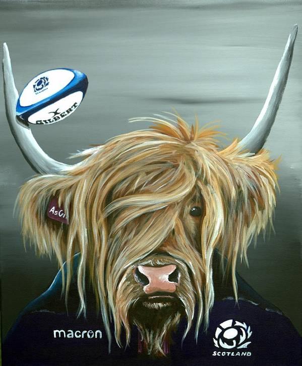 Scotland Rugby Coo by Aaron De la Haye