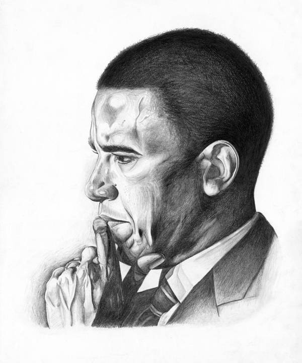 Barack Art Print featuring the drawing Presidential Thoughts by Jeff Stroman