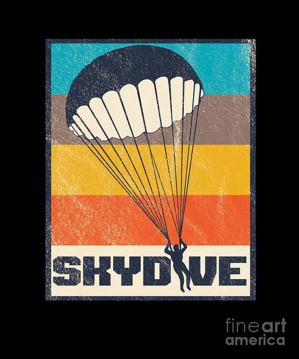 Skydive Retro Extreme Sports Skydiver Parachute Skydiving Gifts by Thomas Larch