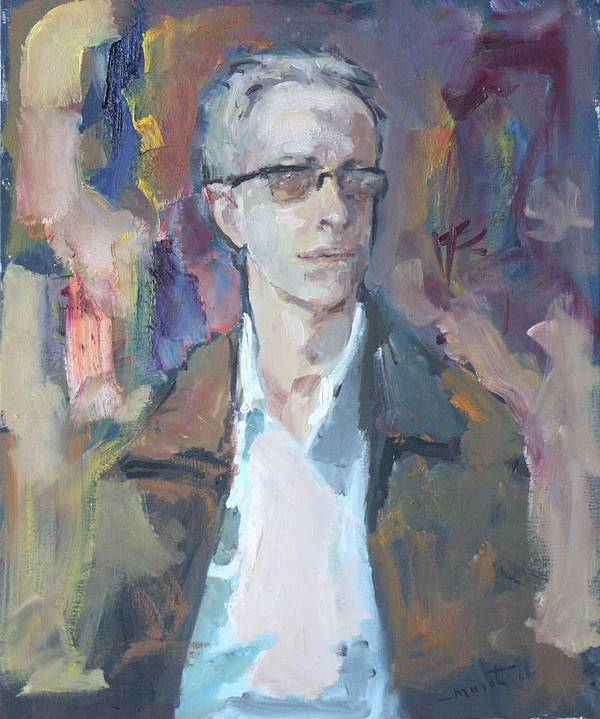 Man In Glasses Art Print featuring the painting Portrait Of A Man by Murat Kaboulov
