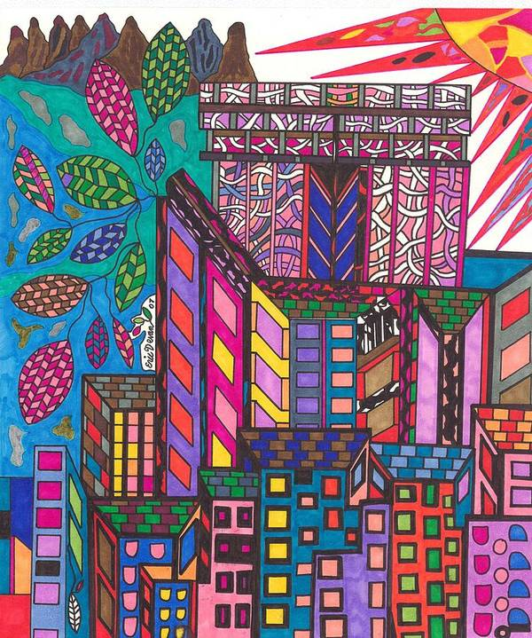 N.y. Art Print featuring the drawing The City That Never Sleeps by Eric Devan