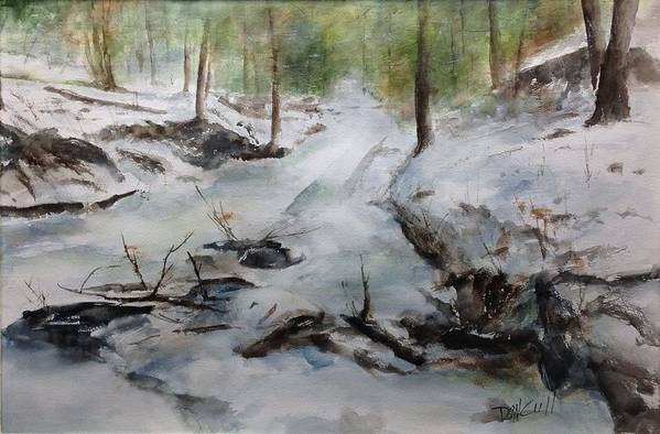 Landscape Art Print featuring the painting Frozen Creek by Don Cull