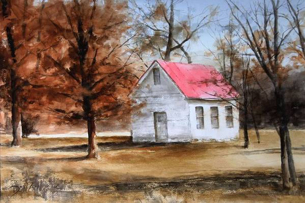Landscape Art Print featuring the painting Farmers Ridge School by Don Cull