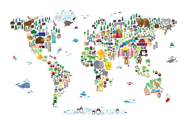 Map Of The World Art Print featuring the digital art Animal Map of the World for children and kids by Michael Tompsett
