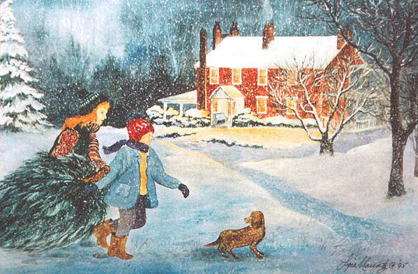 Winter;snow;christmas Tree;children;dog;brick House;farm House; Art Print featuring the painting Bringing in the Tree by Lois Mountz