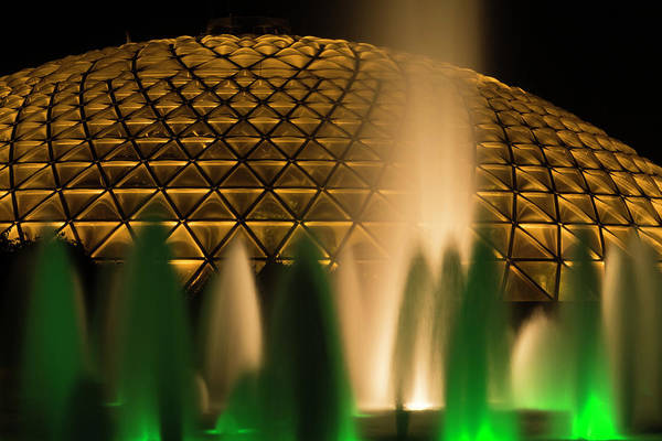 Fountain and architecture of Bloedel Conservatory at night by Alan Poon