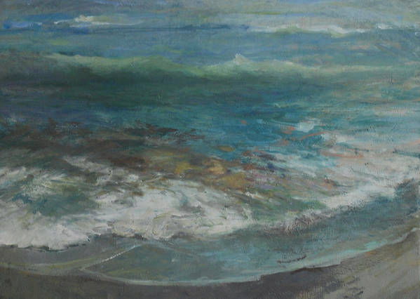 Seascape Art Print featuring the painting Shoreline by Marilyn Muller