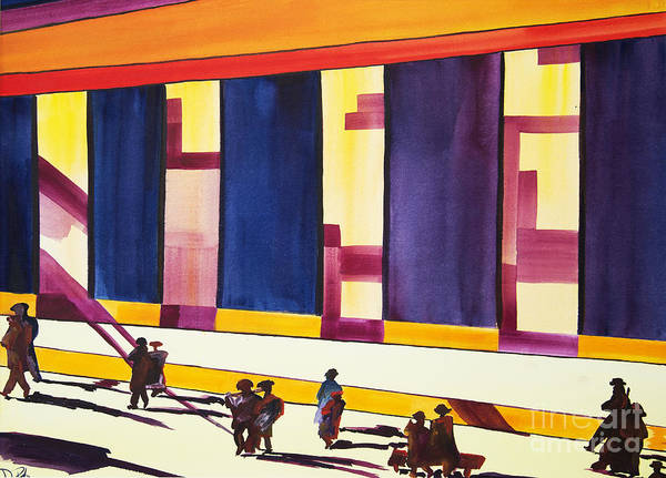 Figures Art Print featuring the painting Morning Commute by JoAnn DePolo