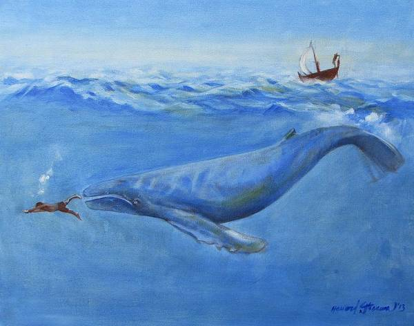 Bible;jonah And The Whale;whale;humpback Whale;mammals;sea Mammals;stormy Sea;fish;boat;waves;religion;old Testiment;spiritual;god And Religion;ad;seascape;water;sky;weather Art Print featuring the painting Jonah by Howard Stroman
