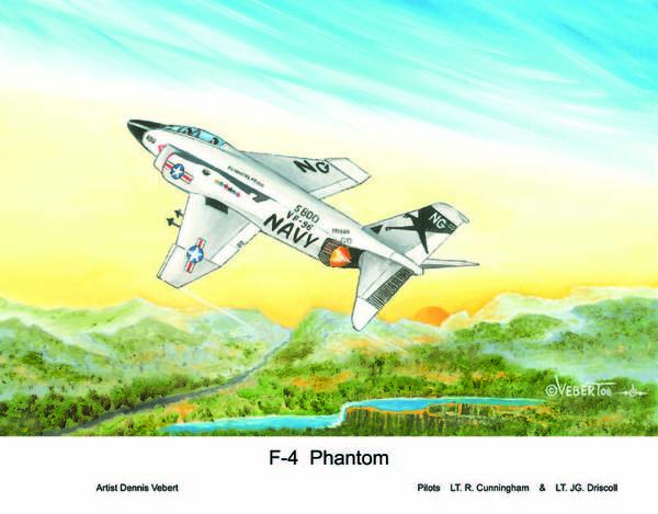 War Plane Art Print featuring the painting F-4 Phantom by Dennis Vebert