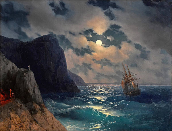 Passing ship on a moonlit night by Ivan Konstantinovich Aivazovsky
