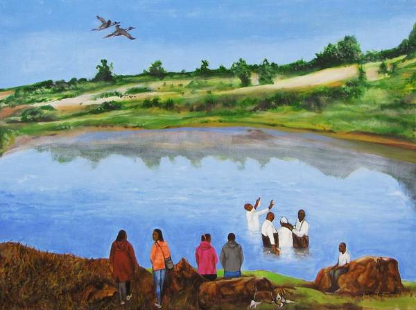Baptism;church;religion;ceremony;river;water;birds;landscape;trees;rocks;people;bible;nature;outdoors;sky Art Print featuring the painting Arrival At The Baptism by Howard Stroman
