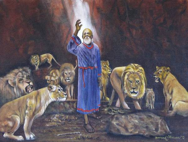 Daniel In The Lions Den; Lions; Animals; Rock; Bible; Biblical; Religion; Old Testiment; Art Print featuring the painting Daniel by Howard Stroman