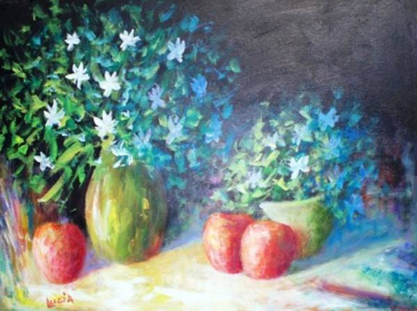 Floral Art Print featuring the print Three Apples by Carl Lucia