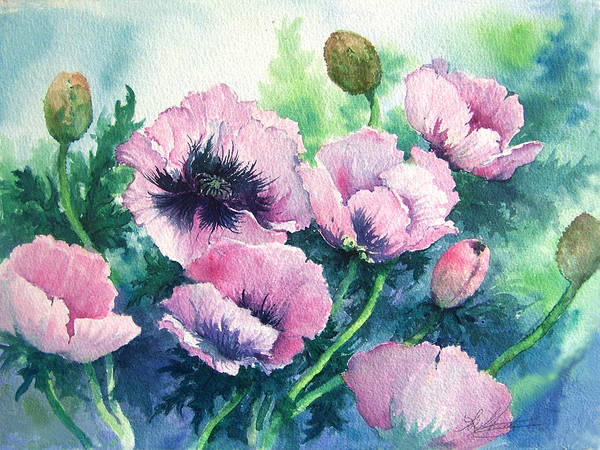 Poppies;floral;flowers;pink;garden; Art Print featuring the painting Mother's Prize Poppies by Lois Mountz