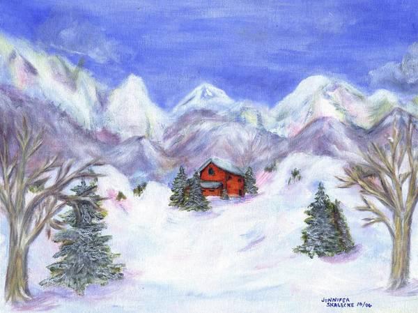 Winter Art Print featuring the painting Winter Wonderland - www.jennifer-d-art.com by Jennifer Skalecke