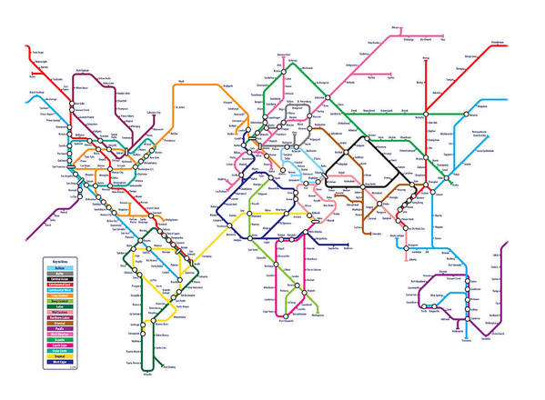 World Map Art Print featuring the digital art World Metro Map by Michael Tompsett