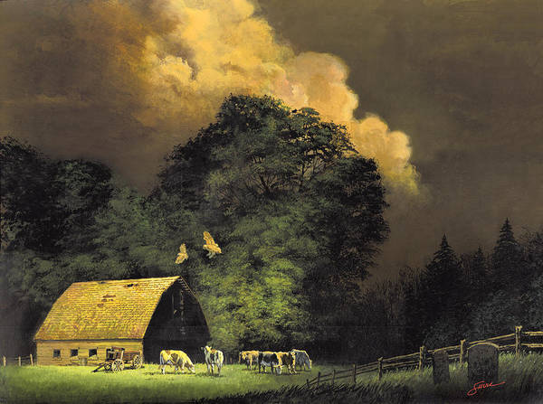 #home From The Hunt Art Print featuring the painting Home From The Hunt by Harold Shull