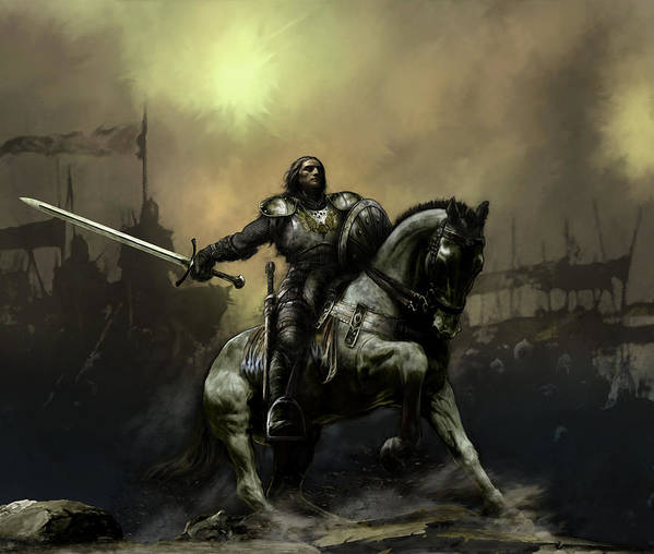 Fantasy Art Print featuring the painting The Defiant by David Willicome