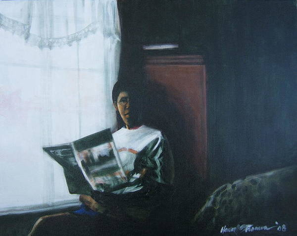 Portrait Art Print featuring the painting The Guest Room by Howard Stroman