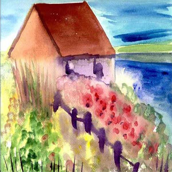 Beach Art Print featuring the painting Beach house by Janet Doggett