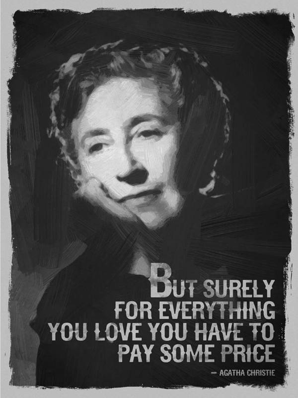 Agatha Christie Quote Black White by After Darkness