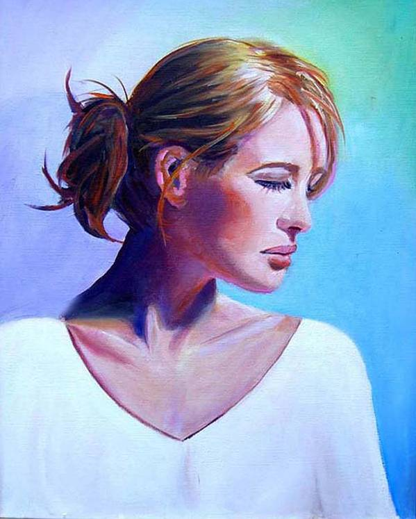 Portrait Of A Beautiful Woman Art Print featuring the painting Elaine by George Markiewicz