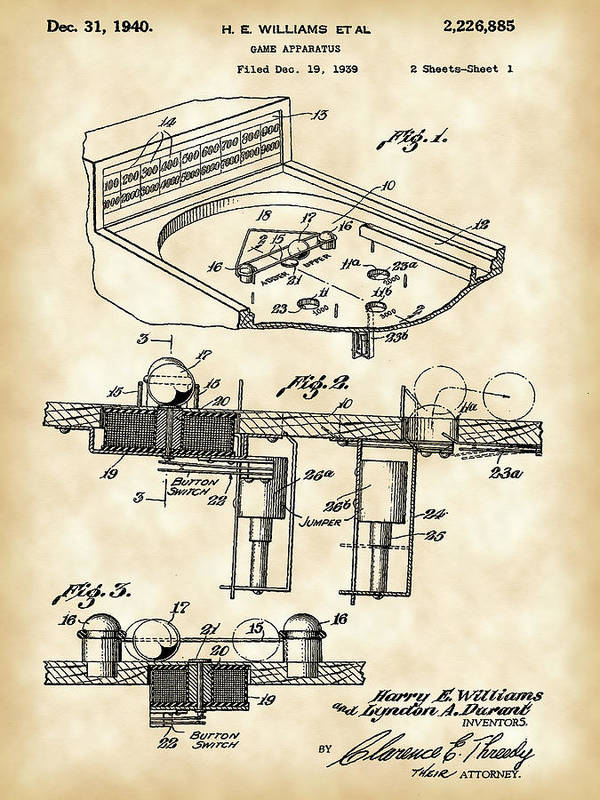 Pinball Machine Patent 1939 - Vintage by Stephen Younts